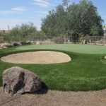 putting green with bunker